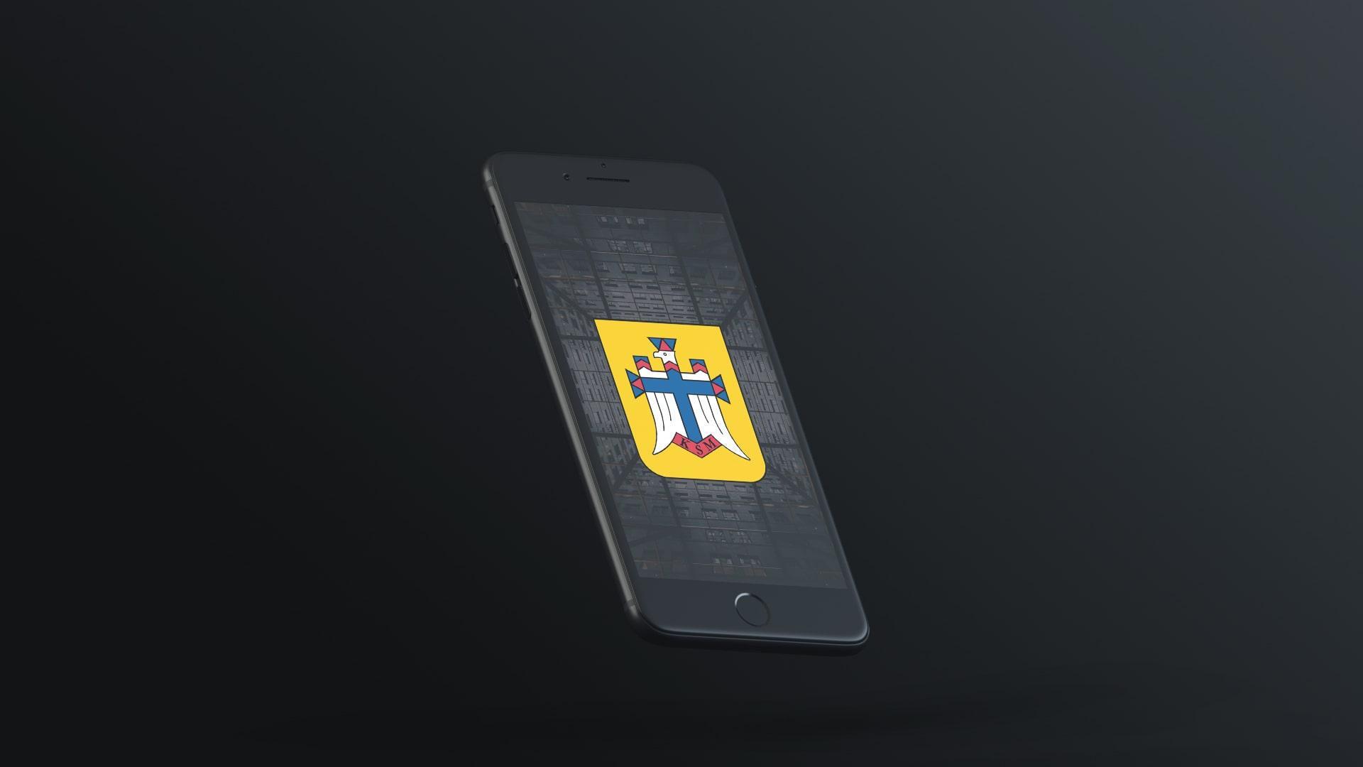 Telefon przedstawiający logo Katolickiego Stowarzyszenia Młodzieży Diecezji Gliwickiej