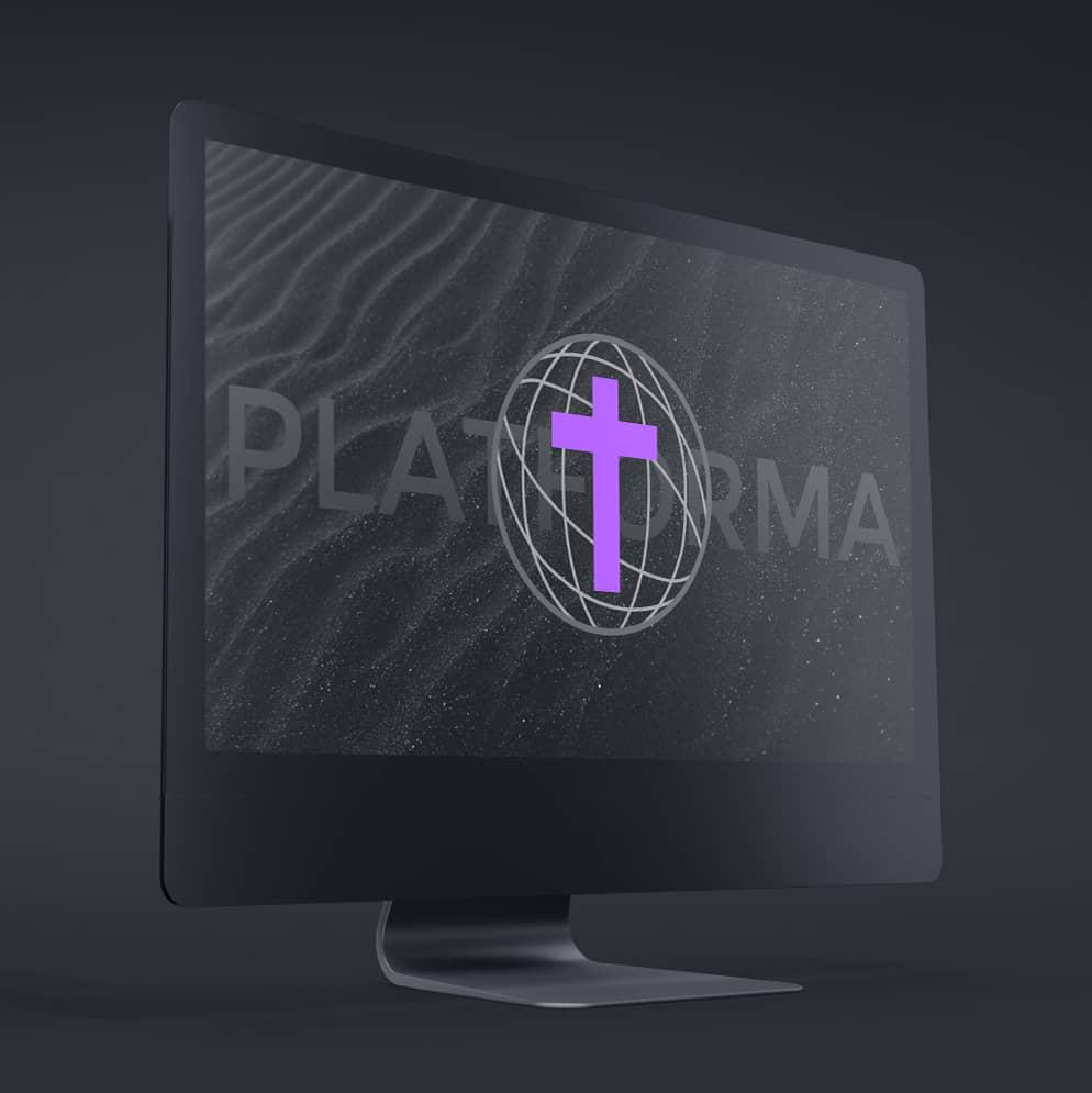 Monitor z wyświetlonym logo Platformy Diecezji Gliwickiej